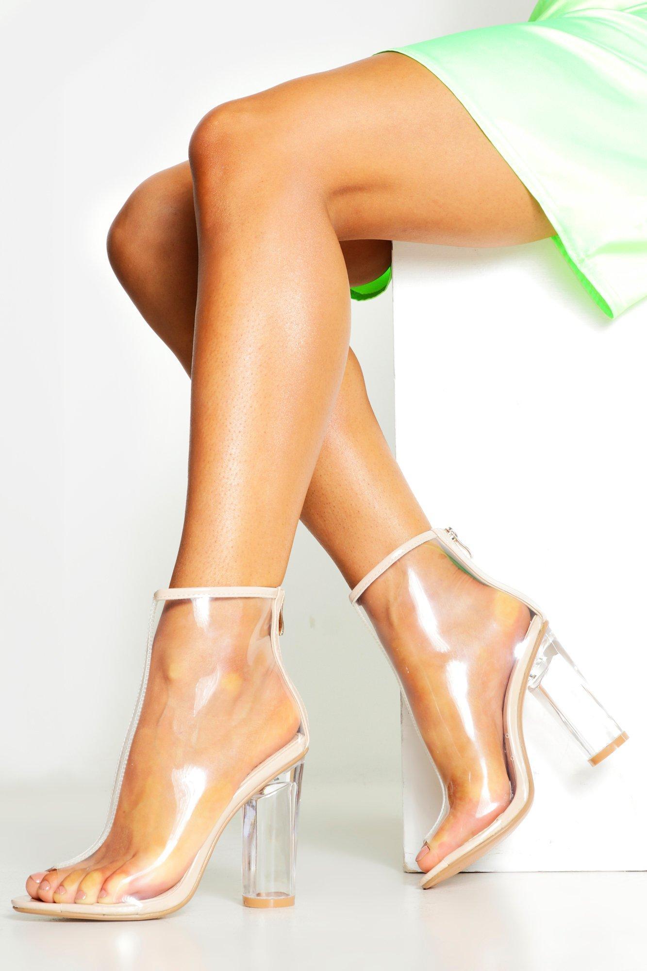 Купить со скидкой Прозрачные ботинки Block Туфли на каблуках