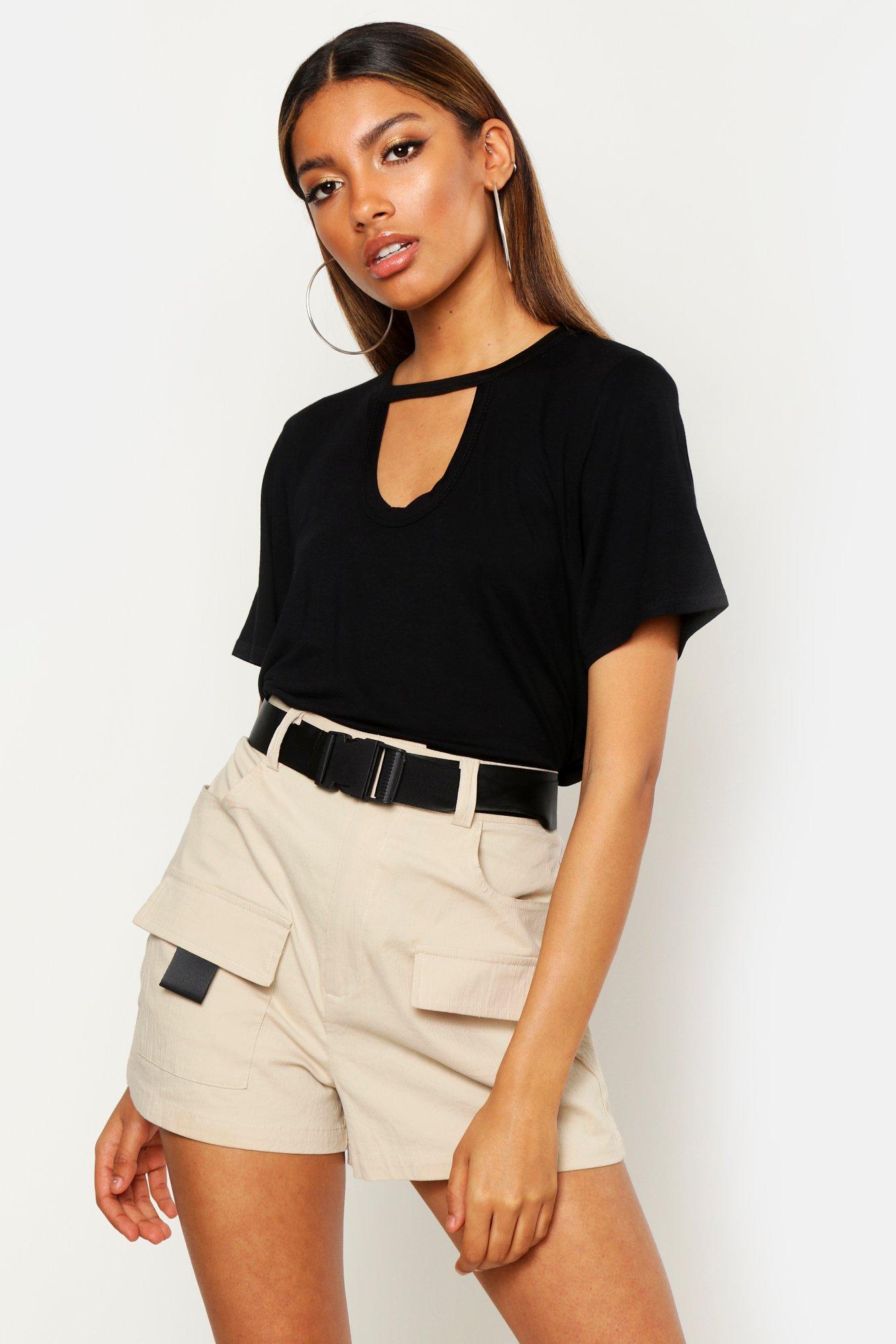 Womens Basic Hemd mit Cut-Out - schwarz - 36, Schwarz - Boohoo.com