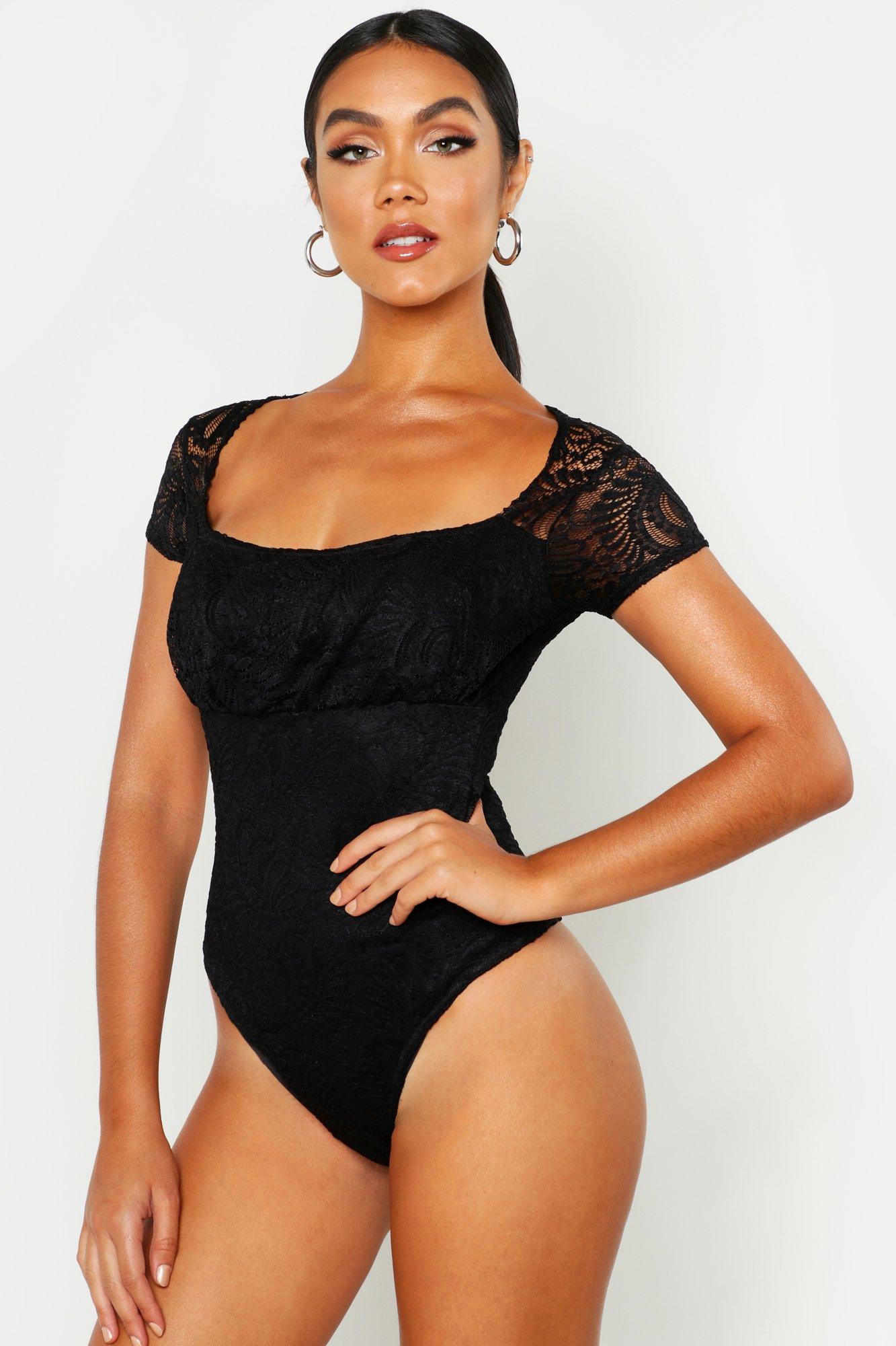 Womens Body mit Flügelärmeln und Love-Print - schwarz - 32, Schwarz - Boohoo.com