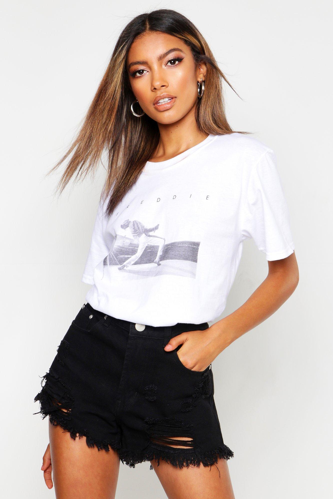 "Womens Kurzes T-Shirt ""Freddie Mercury"" - Weiß - L, Weiß - Boohoo.com"