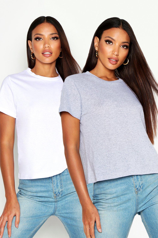 Womens Rundhals-T-Shirt, 2er-Pack - Weiß - 34, Weiß - Boohoo.com