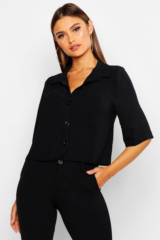 Womens Boxy-Bluse mit Knopfleiste vorn und Tasche - schwarz - 38, Schwarz - Boohoo.com