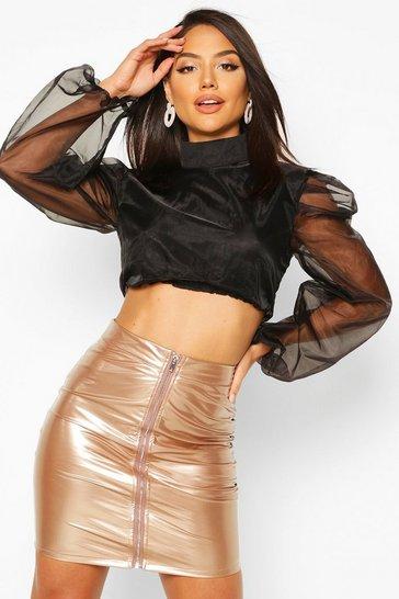 Champagne PU Zip Back Skirt