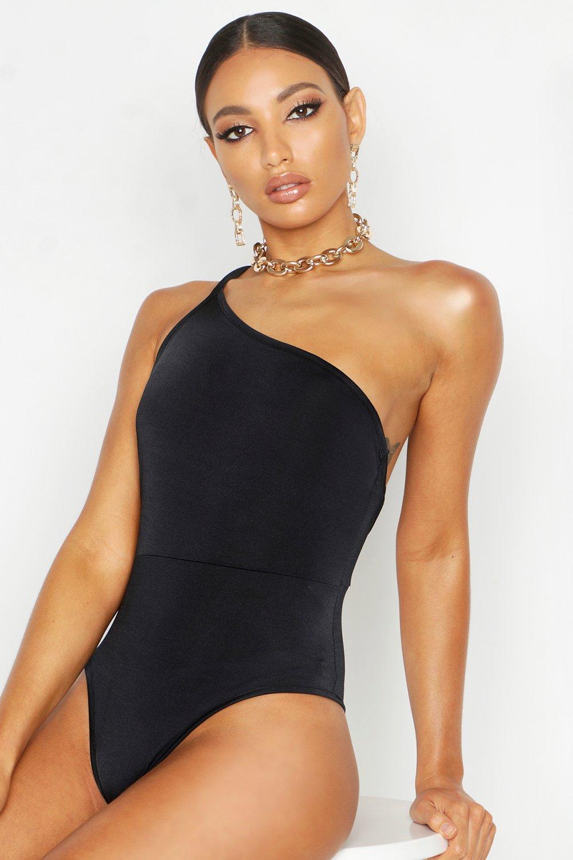Womens One-shoulder Body aus glänzendem Jersey - schwarz - 36, Schwarz - Boohoo.com