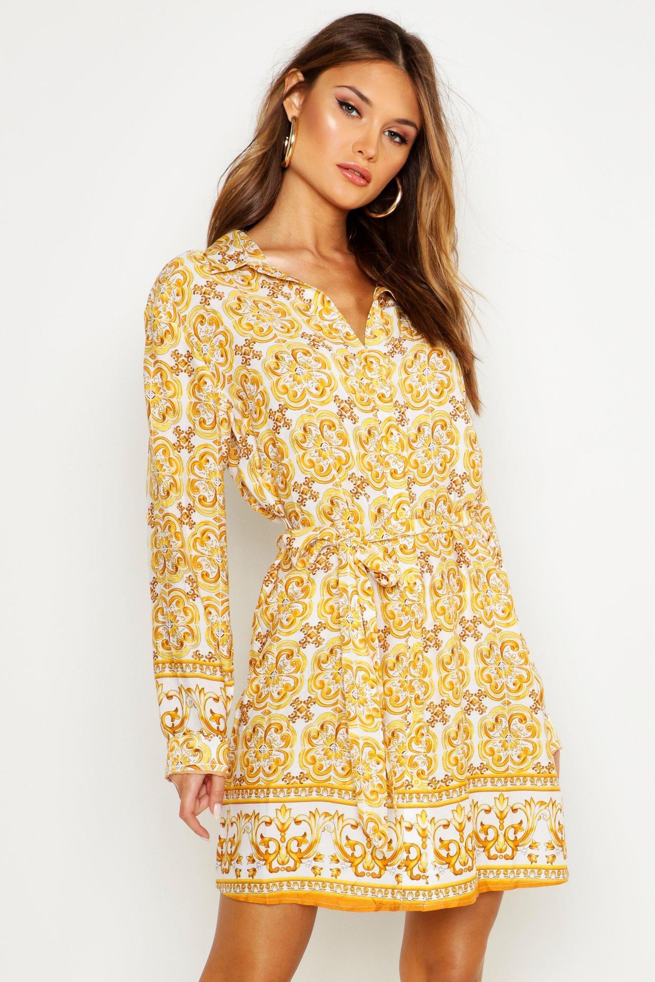Womens Blusenkleid mit Kachel-Print - gelb - 36, Gelb - Boohoo.com