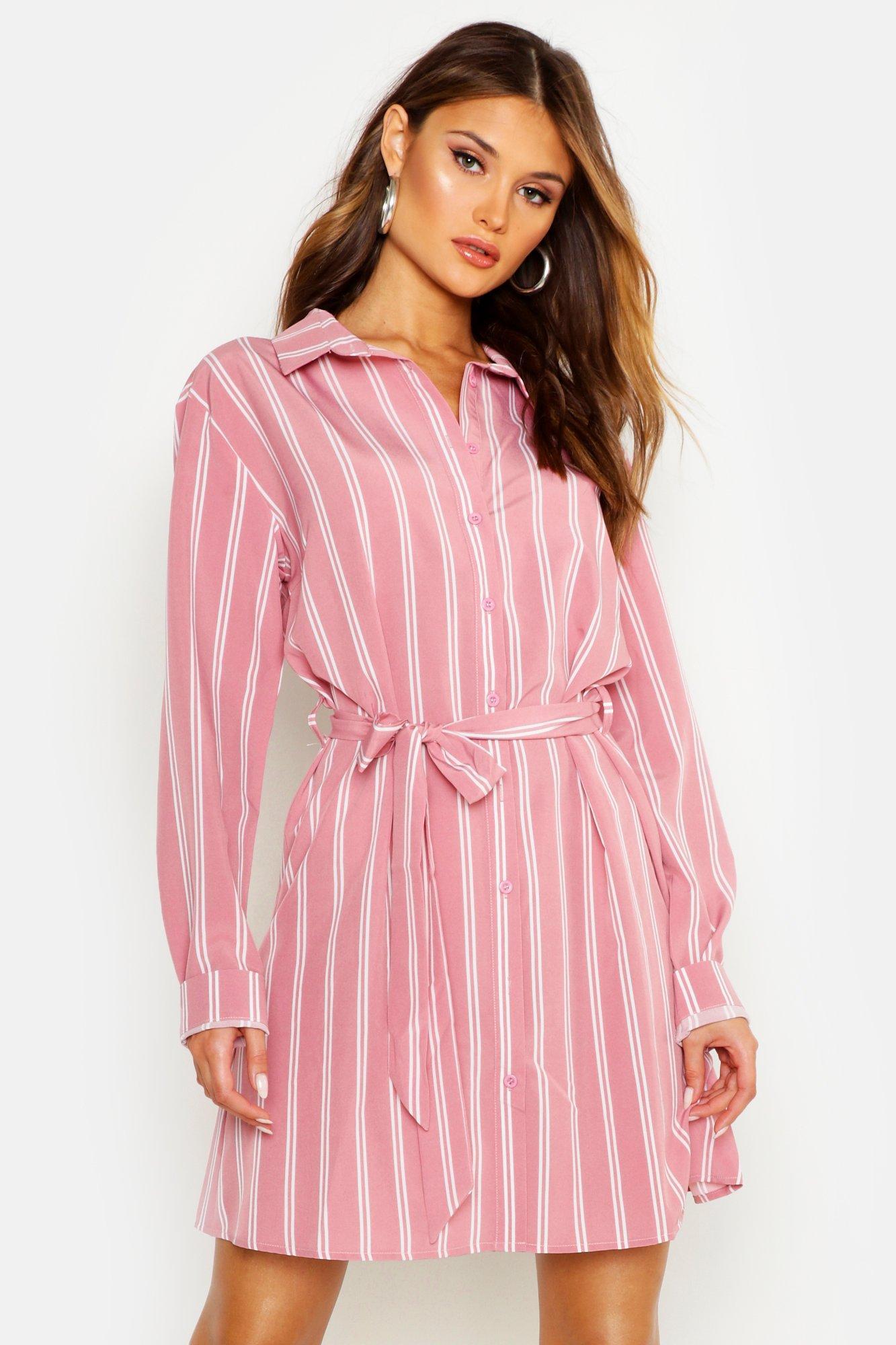 Womens Blusenkleid mit Streifen-Print - Blassrosa - 34, Blassrosa - Boohoo.com