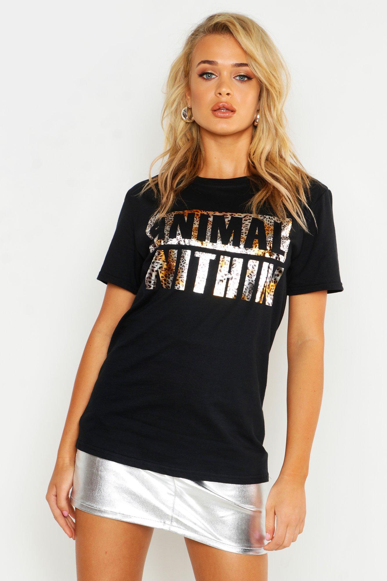 Womens Unisex T-Shirt mit Animal-Print in Bronze-Folienprint - schwarz - S, Schwarz - Boohoo.com