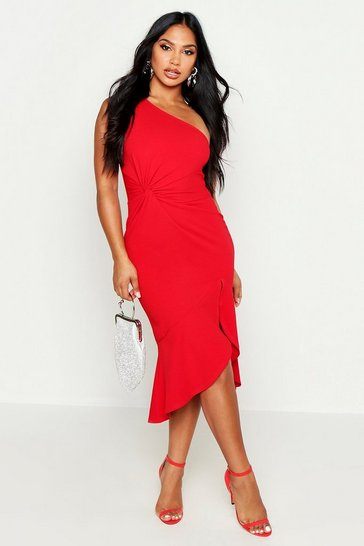 Red One Shoulder Knot Front Frill Midi Dress