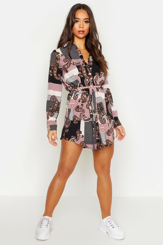 Womens Blusenkleid mit Paisley-Print - rosa - 34, Rosa - Boohoo.com