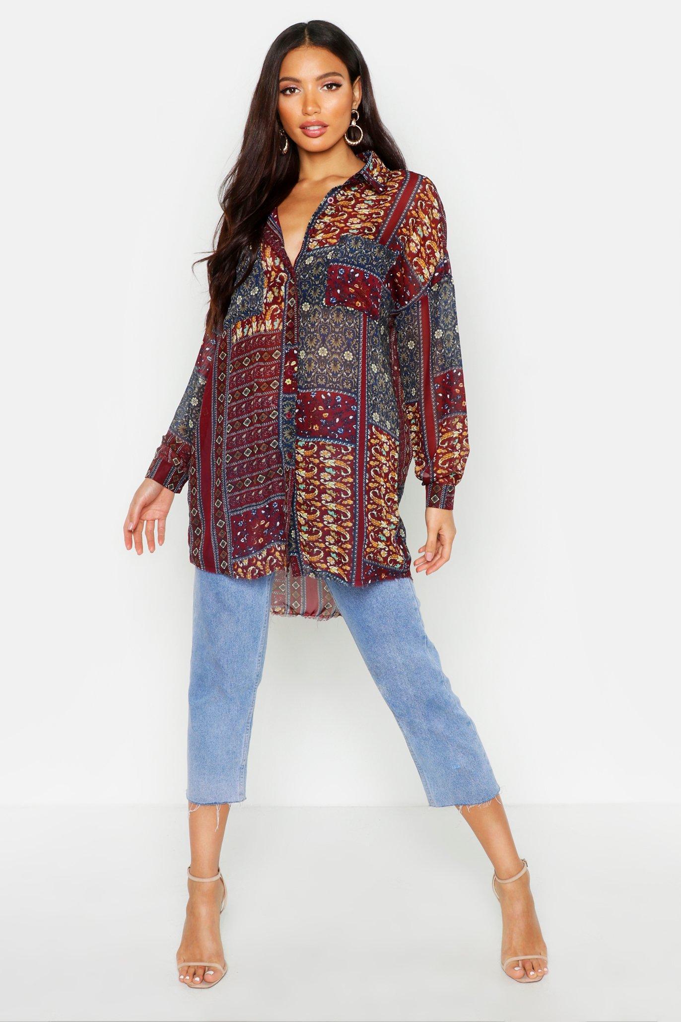 Womens Oversized-Hemd aus Webstoff mit Paisley-Print - weinrot - 34, Weinrot - Boohoo.com
