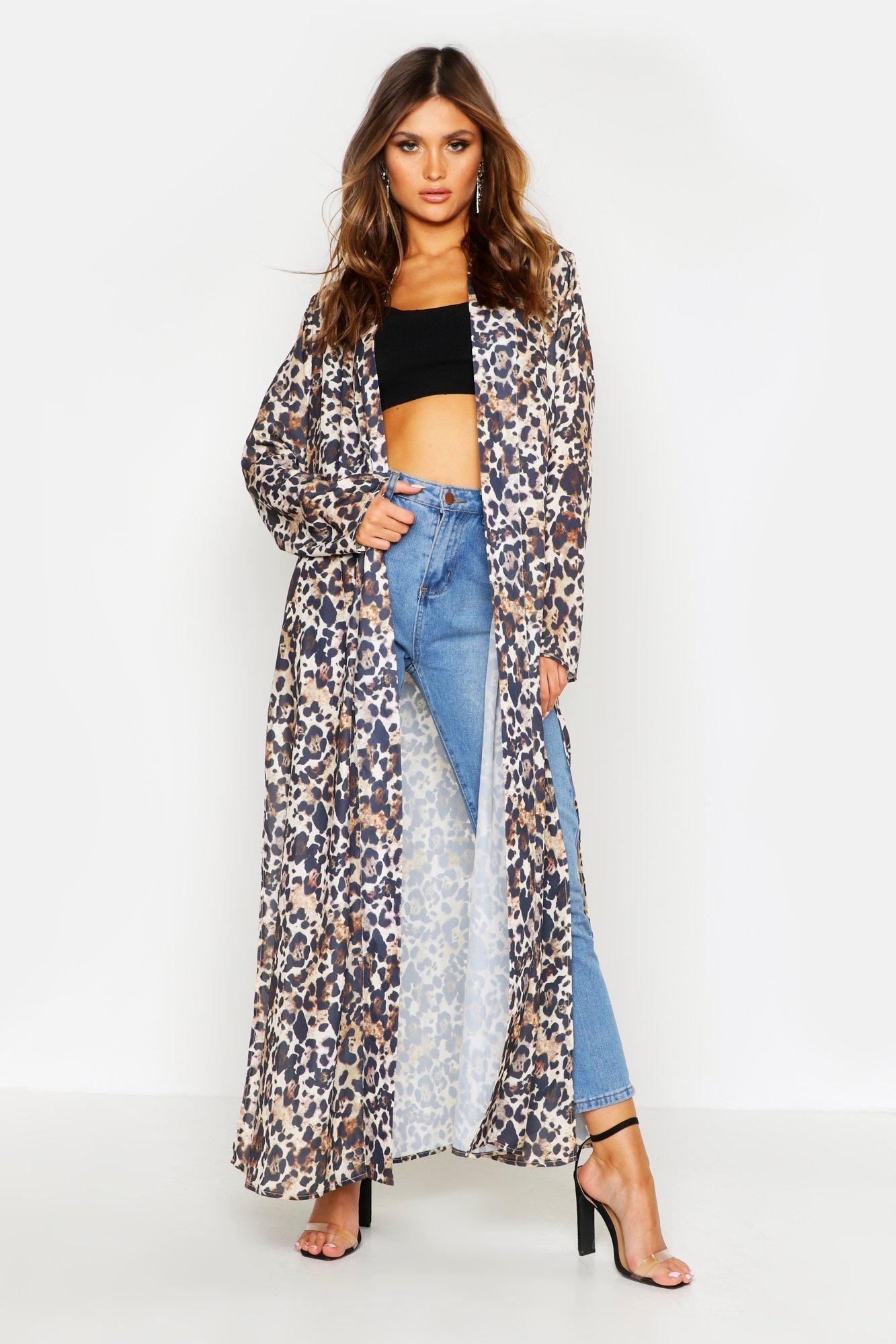 Womens Gewebter Kimono mit Leoparden-Print - Beige - 32, Beige - Boohoo.com