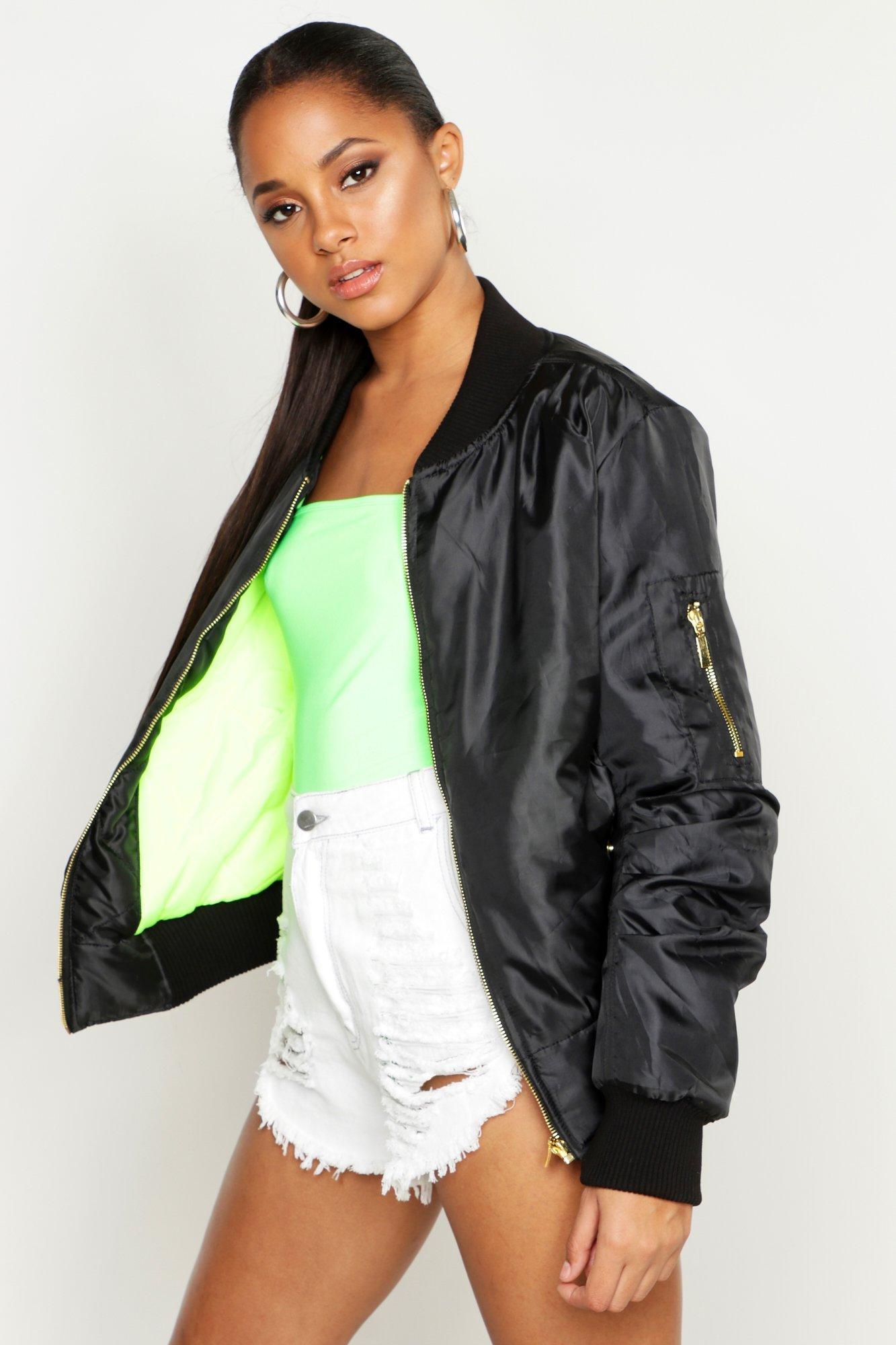 Купить Coats & Jackets, Неоновый зеленый бомбер MA1 на подкладке, boohoo