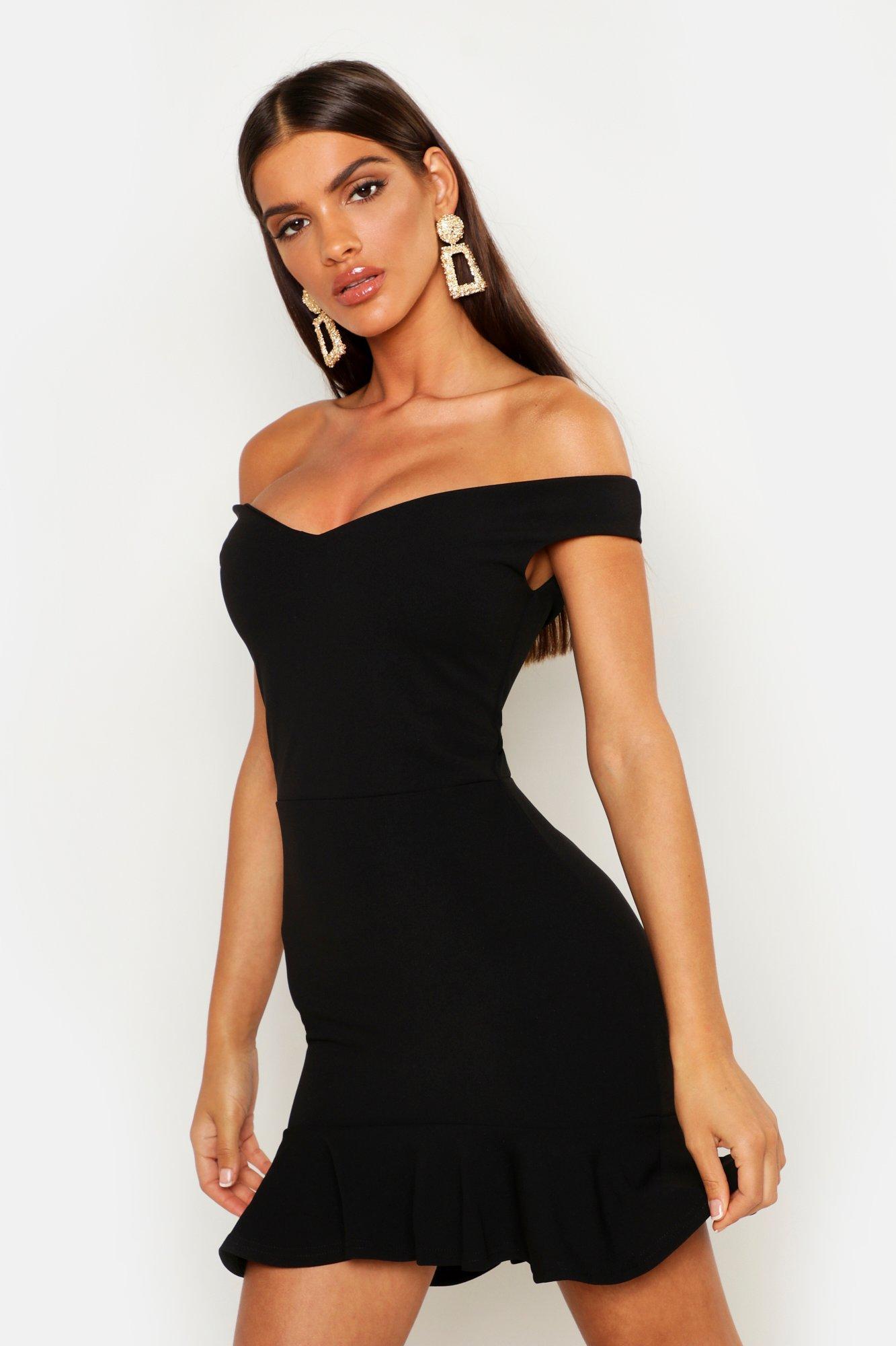 SALE Bardot V Neck Frill Hem Mini Dress