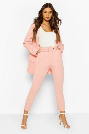Blush Self Belt Tailored Trouser