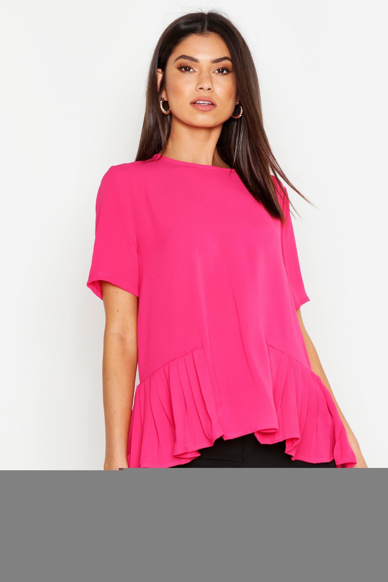 Womens Kurzärmelige Bluse mit plissiertem Saum - rosa - 34, Rosa - Boohoo.com