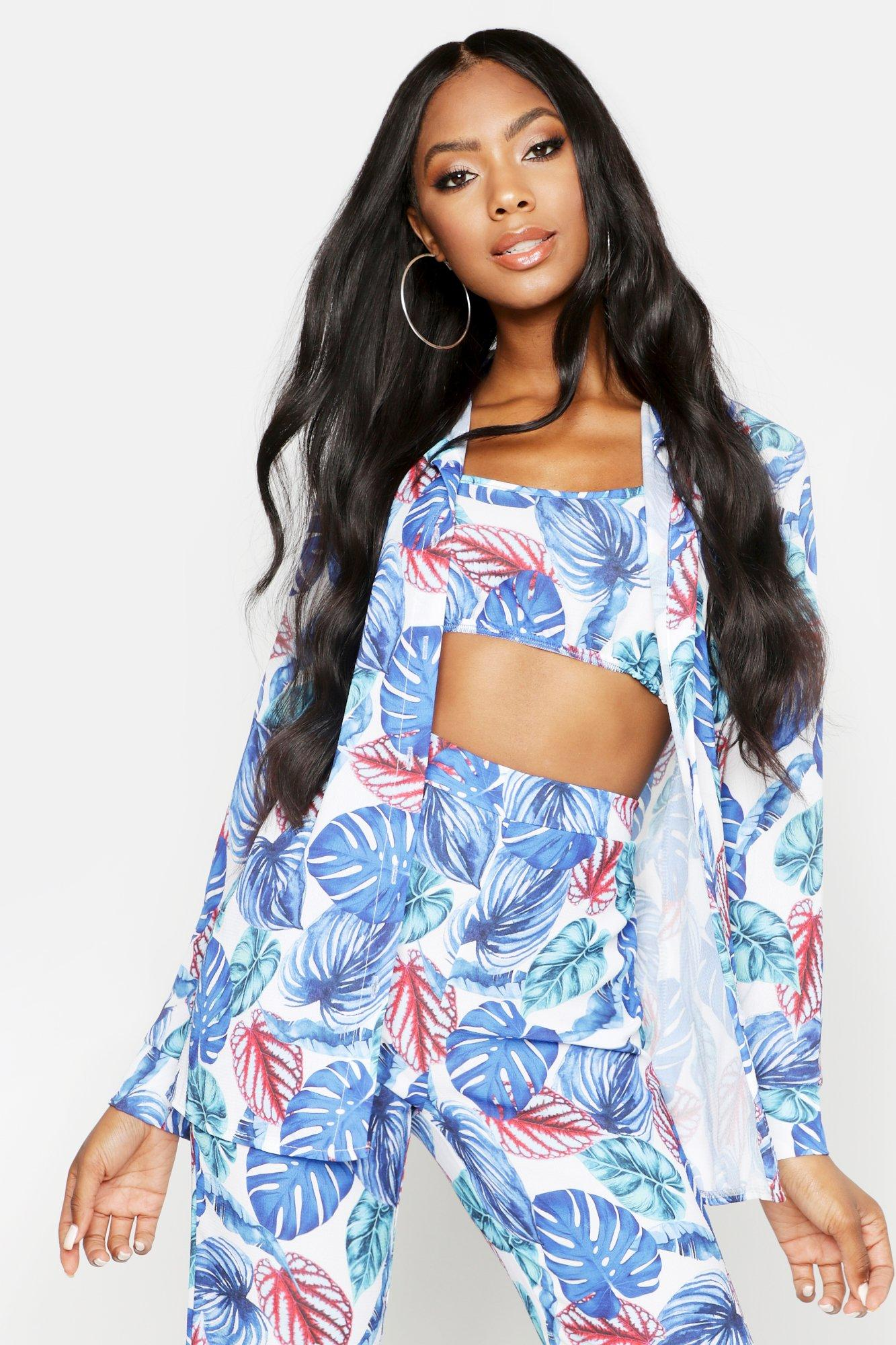 Womens Hemd im Palmen-Print - Blau - 34, Blau - Boohoo.com
