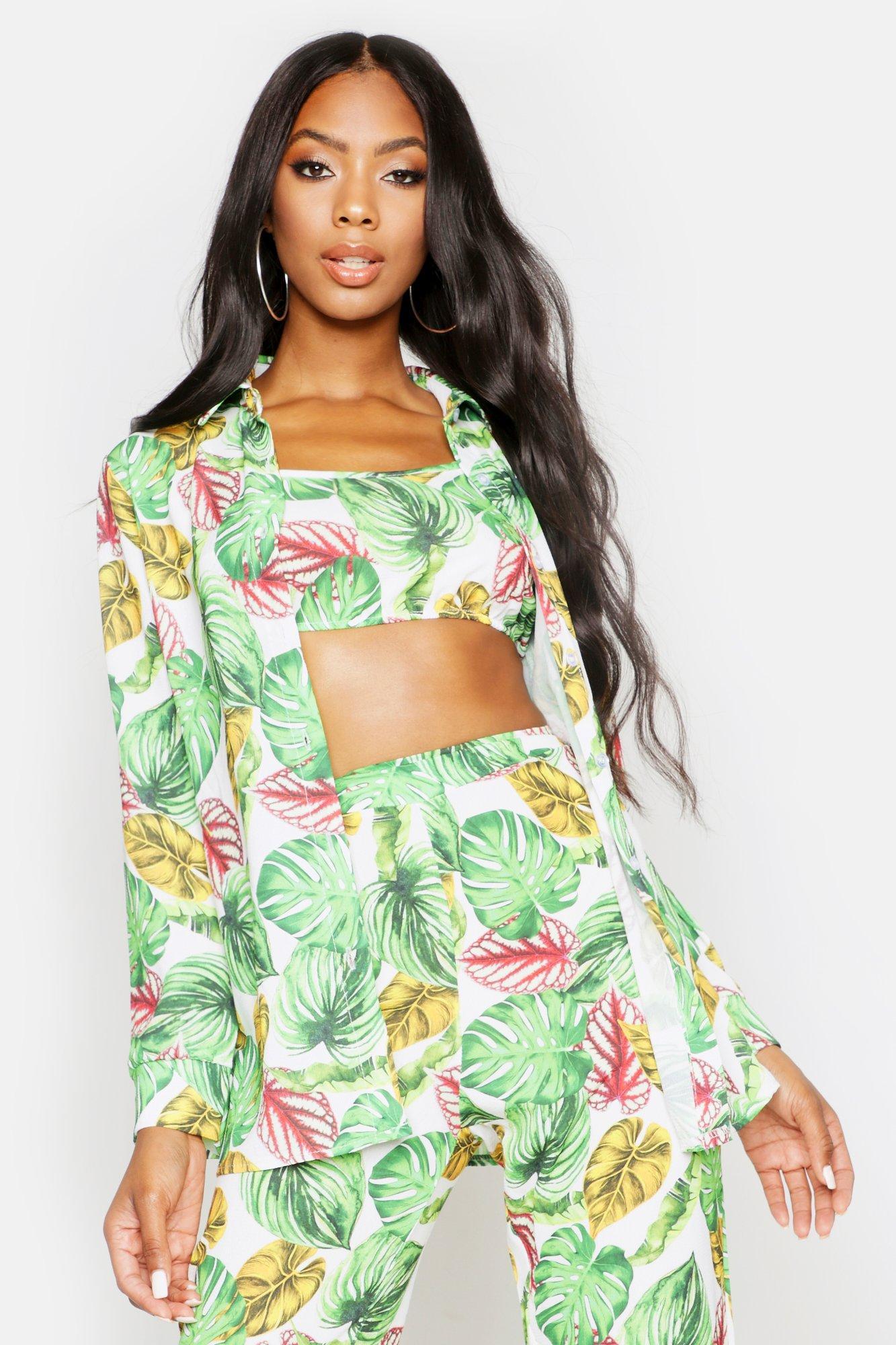 Womens Hemd im Palmen-Print - grün - 34, Grün - Boohoo.com