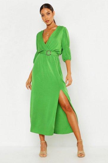 Olive Puff Sleeve Horn Buckle Midaxi Dress