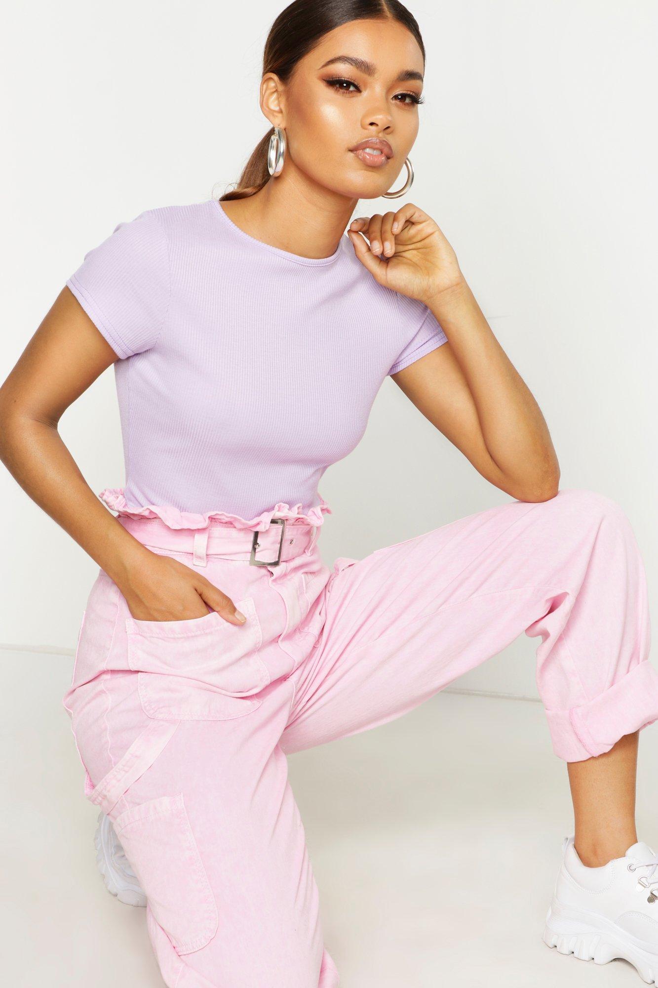 Womens Schlichtes T-Shirts mit Rippstruktur - Flieder - 38, Flieder - Boohoo.com