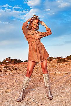 Blusenkleid aus Cord mit Schnürung und Taschen - Boohoo.com