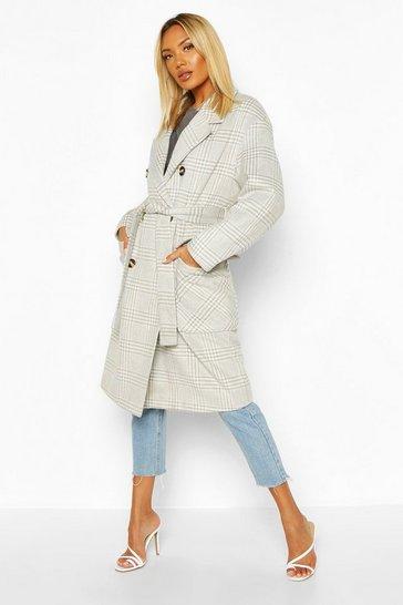 Grey Tonal Check Wool Look Belted Coat