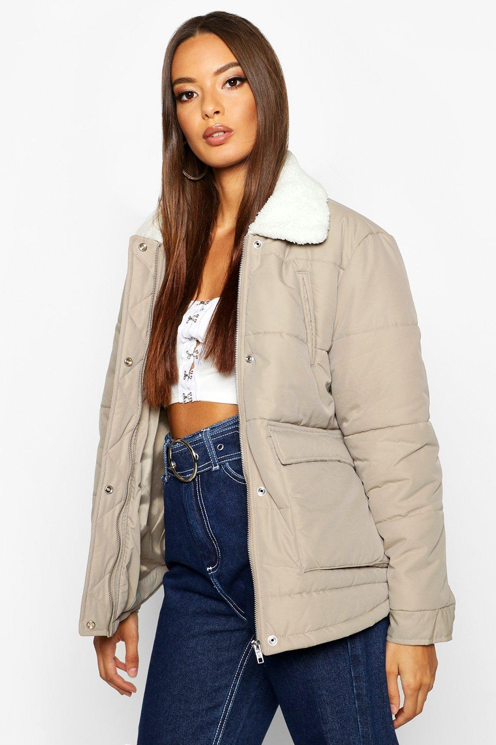 Don't Miss Out Borg Collar Puffer Jacket