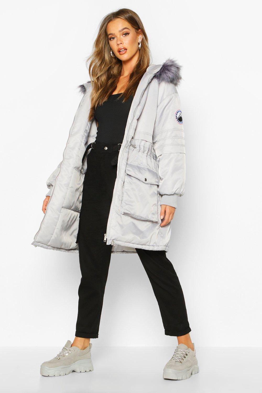 boohoo Womens Faux Fur Trim Oversized Parka - Grey - 12, Grey
