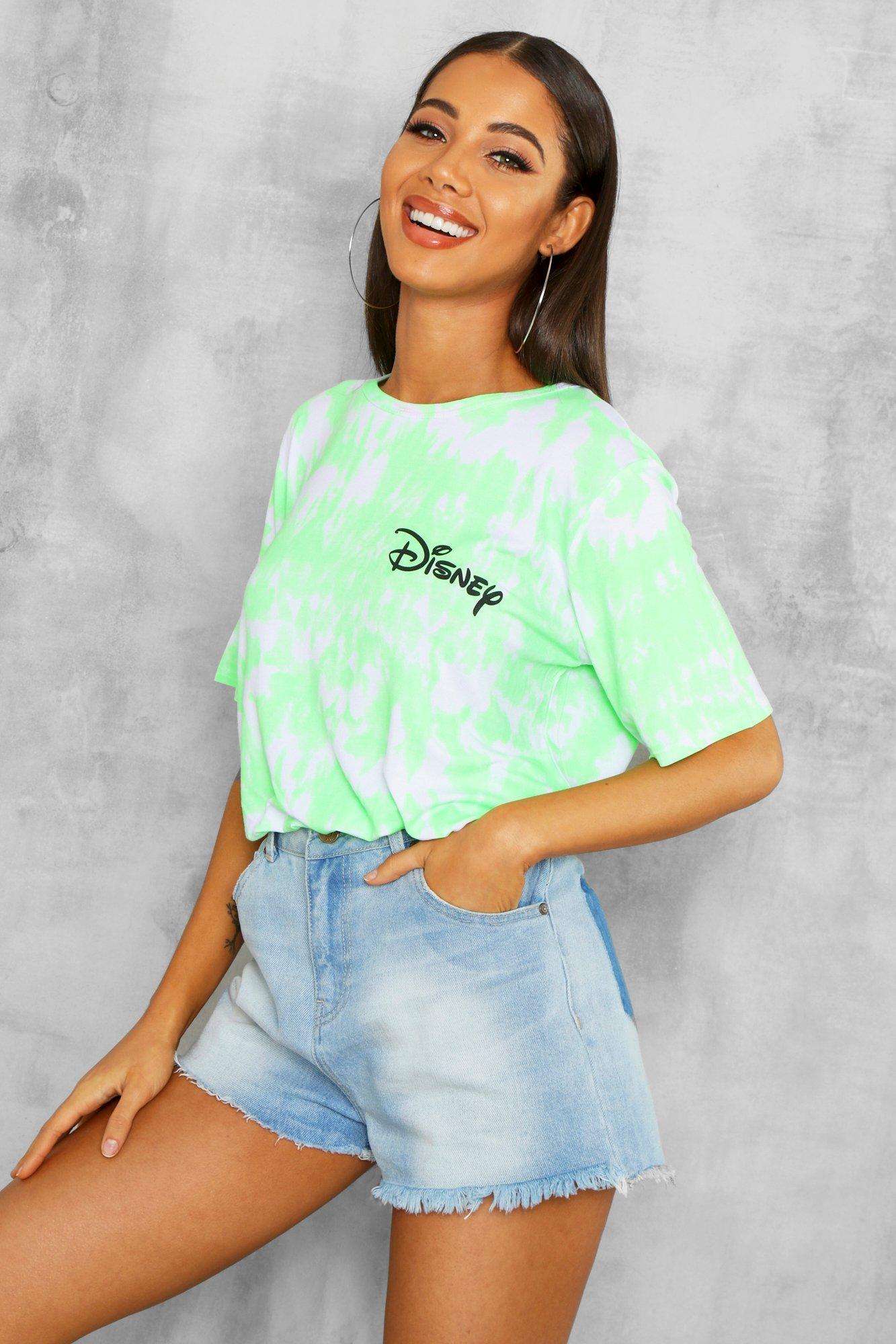 Womens Lizenziertes Disney T-Shirt mit neonfarbenem Slogan - Limettengrün - 36, Limettengrün - Boohoo.com