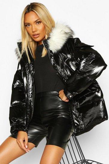Black Pocket Pearlescent Faux Fur Trim Puffer