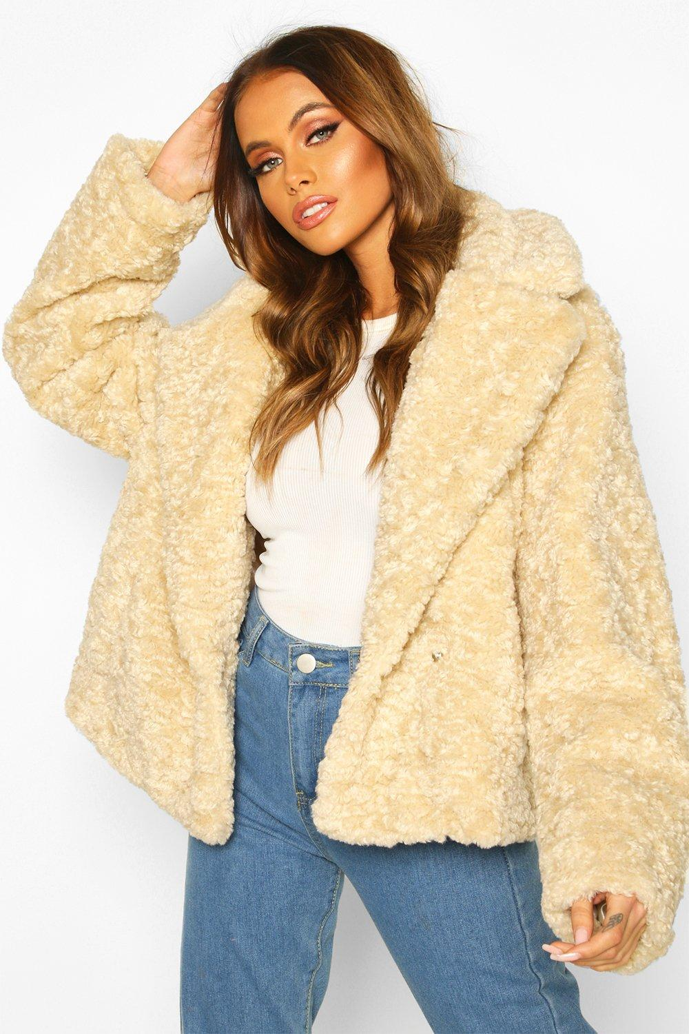 boohoo Womens Premium Textured Collared Faux Fur Coat - White - 16, White