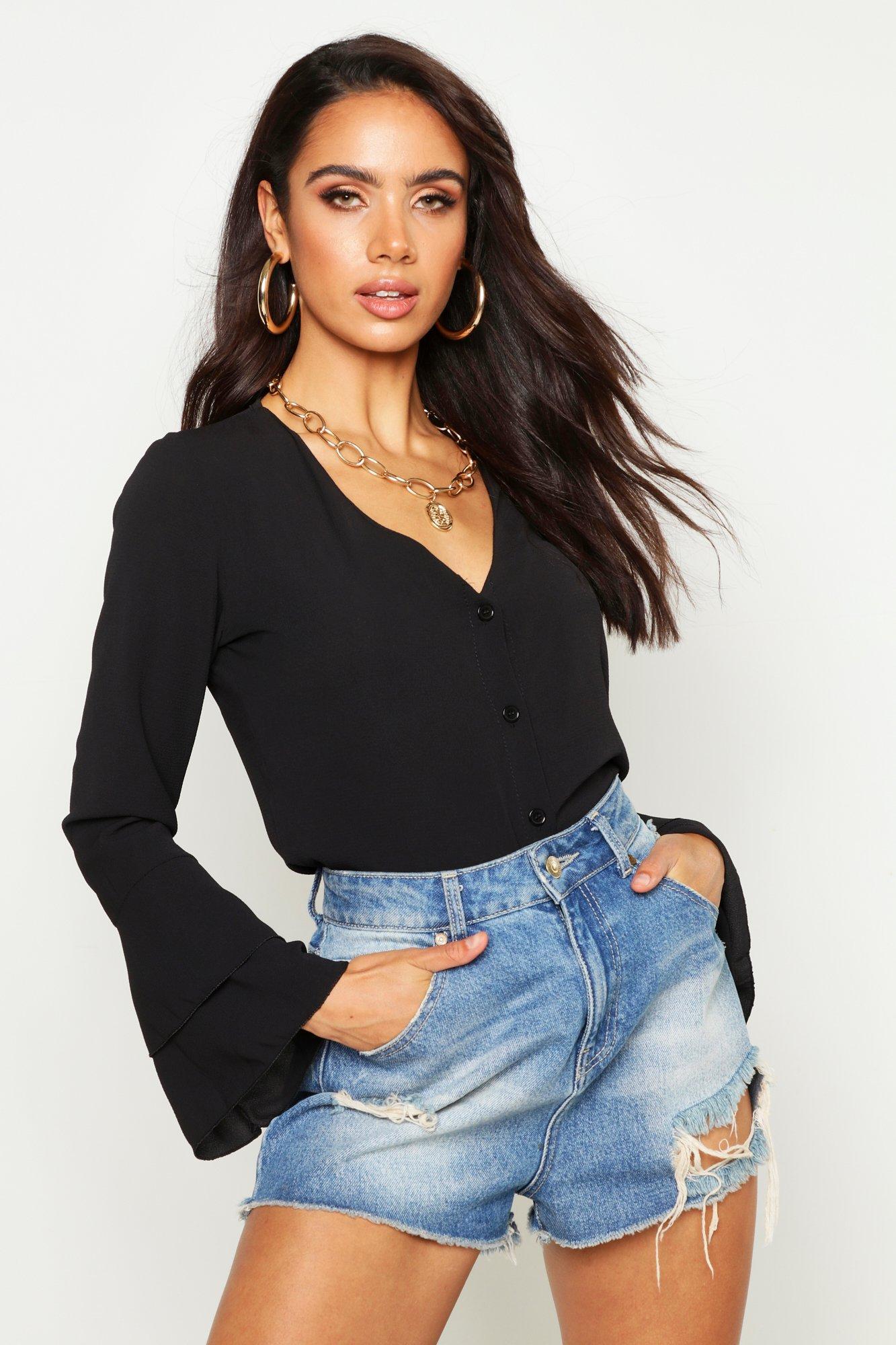 Womens Woven Flared Sleeve Blouse - black - 34, Black - Boohoo.com