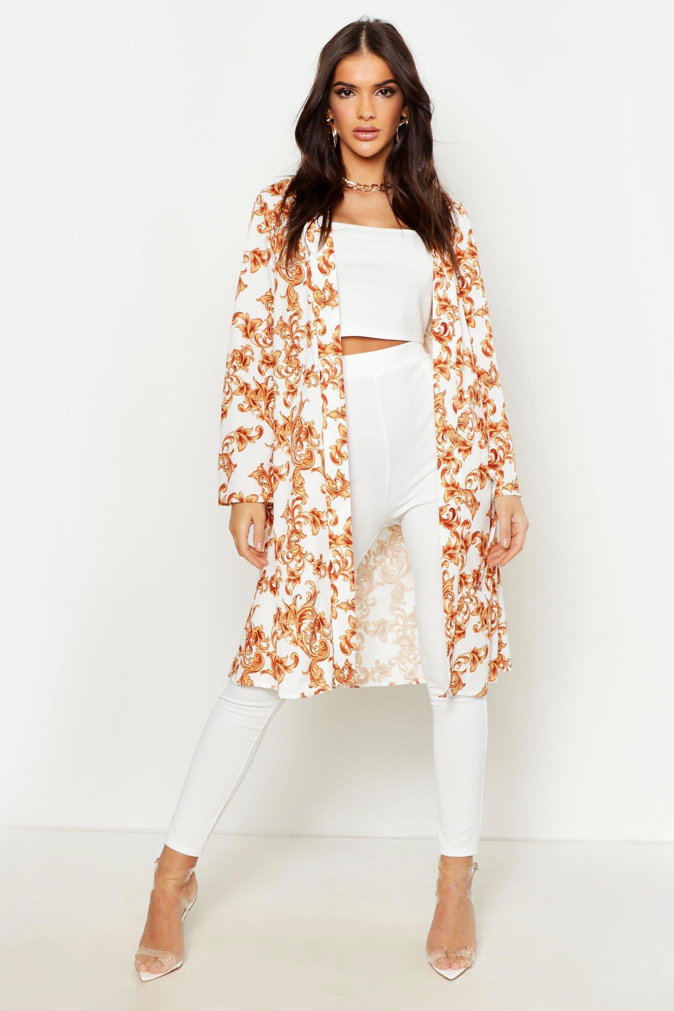Womens Satin Chain Print Tie Kimono - white - 32, White - Boohoo.com