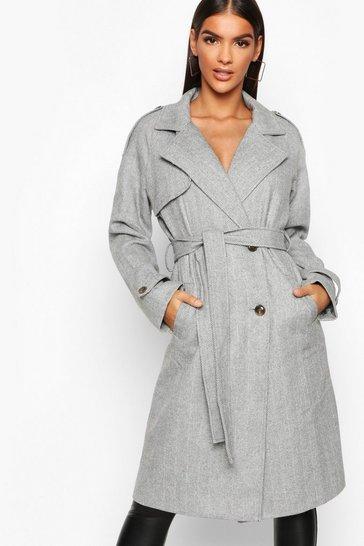 Grey Herringbone Wool Look Trench