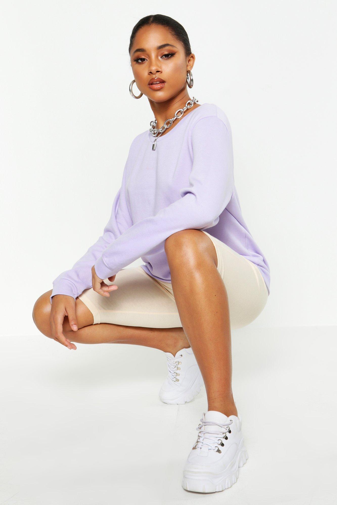 Womens Crew Neck Sweatshirt - lilac - M, Lilac - Boohoo.com