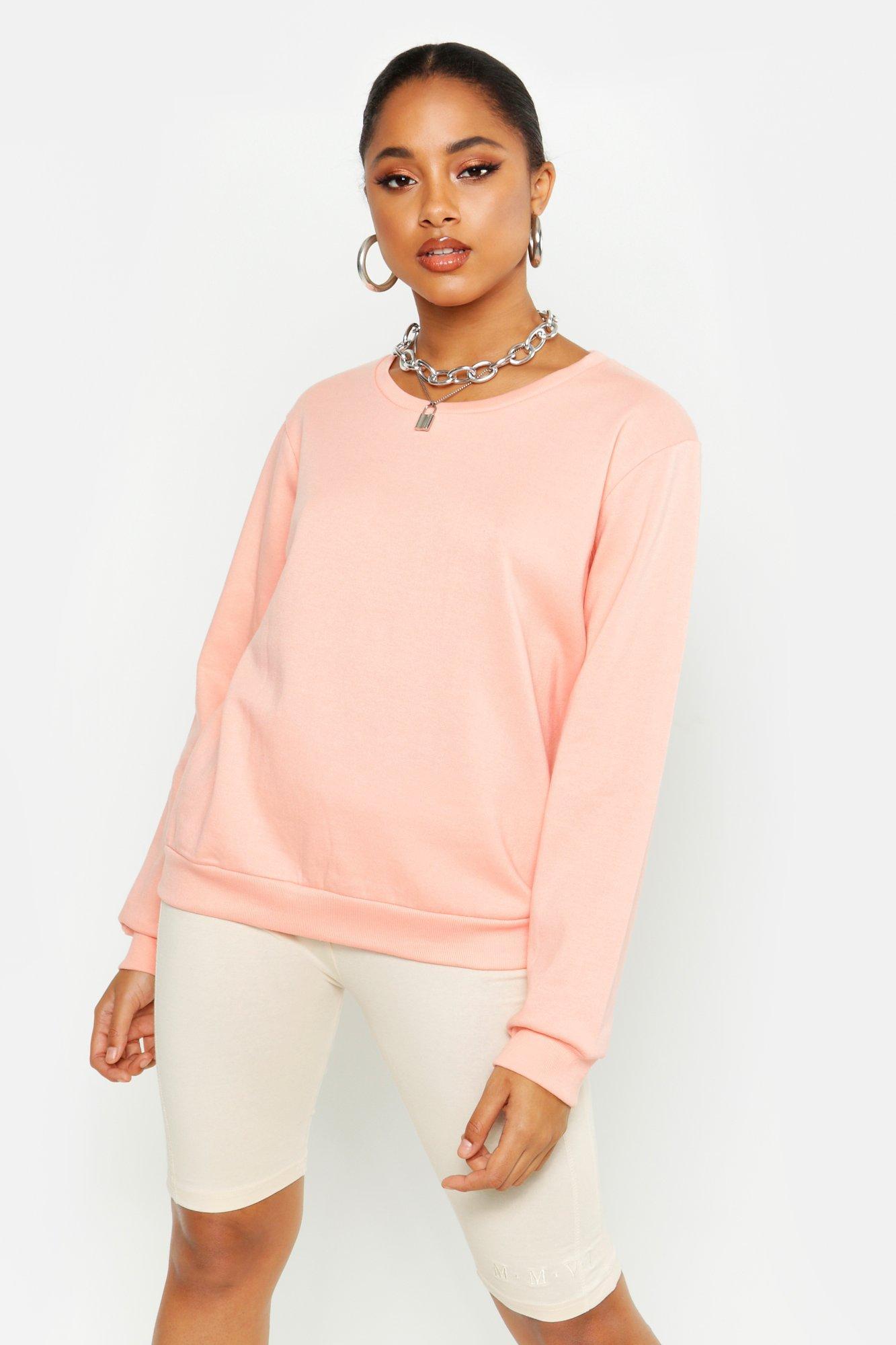 Womens Crew Neck Sweatshirt - peach - XS, Peach - Boohoo.com