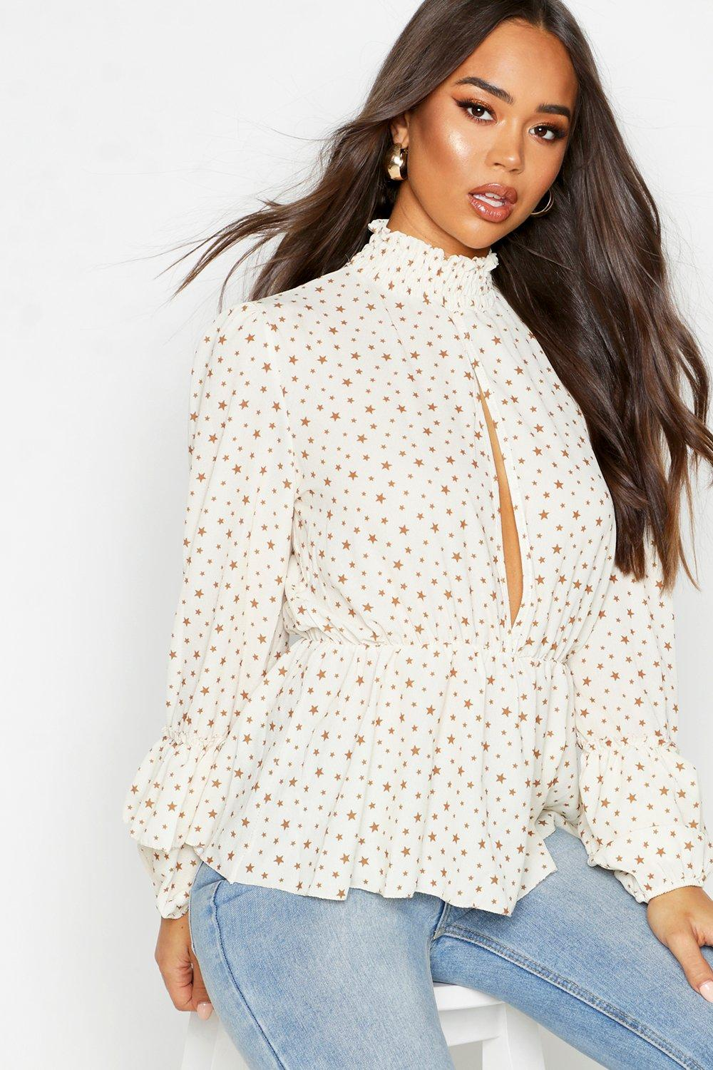 Womens Woven Star Plunge Blouse - ivory - 32, Ivory - Boohoo.com