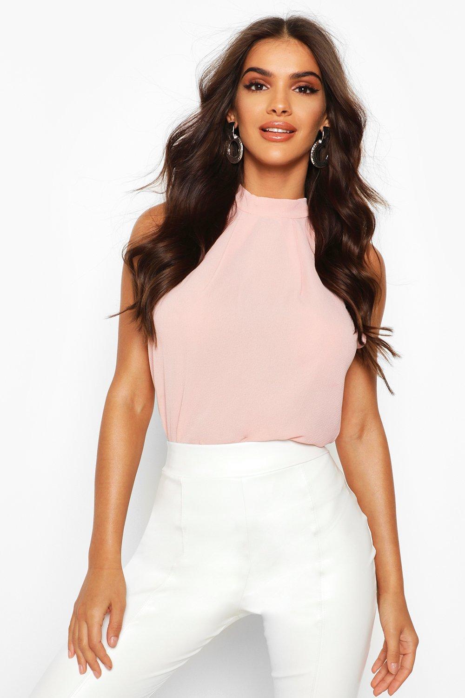 Womens High Neck Sleeveless Blouse - blush - 34, Blush - Boohoo.com