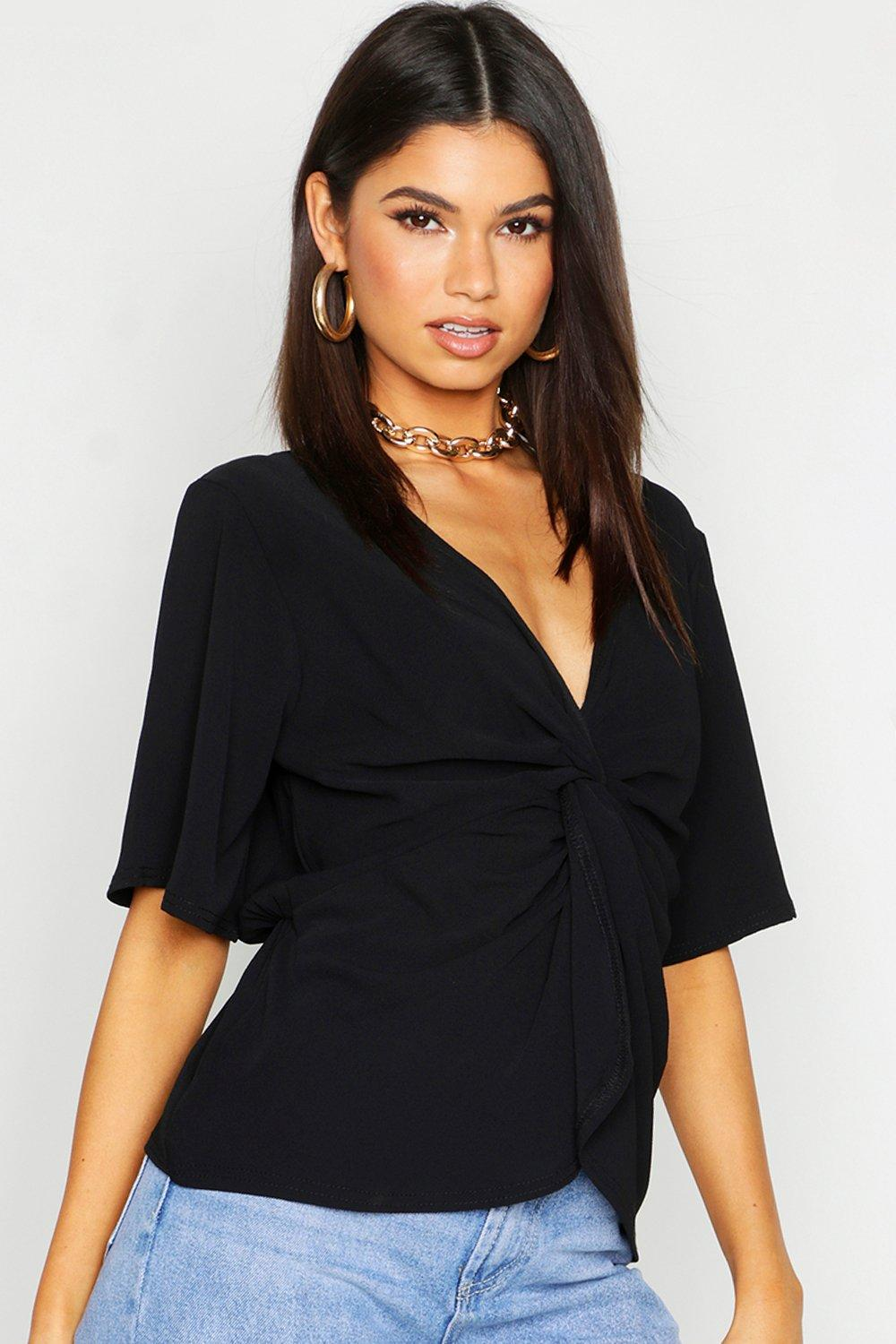 Womens Woven Twist Front Blouse - black - 38, Black - Boohoo.com