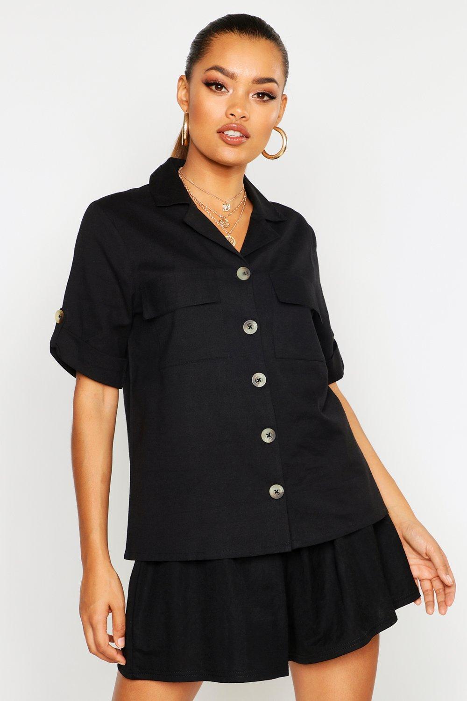Womens Linen Utility Pocket Short Sleeve Shirt - black - 32, Black - Boohoo.com
