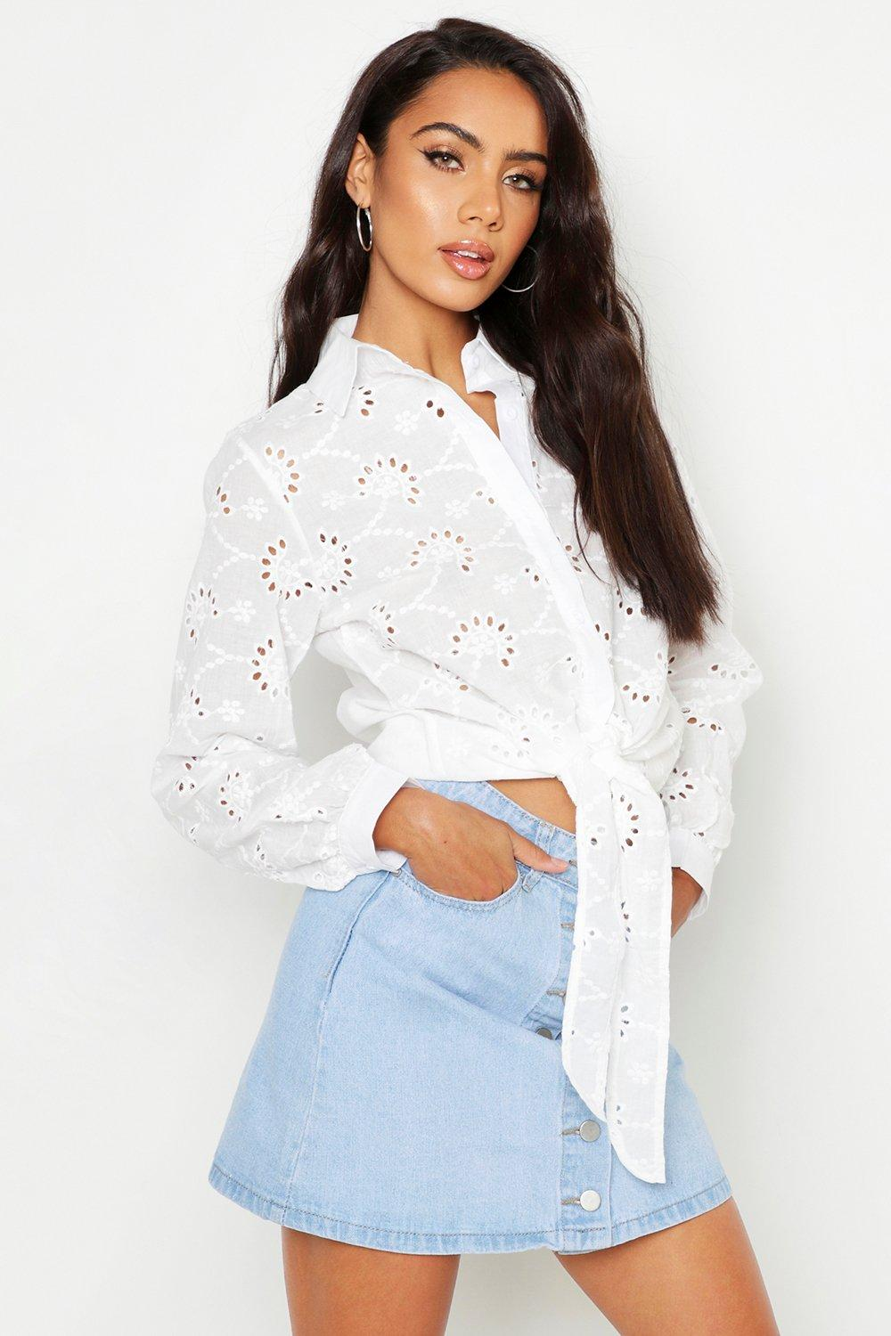 Womens Broderie Anglaise Tie Front Shirt - white - 38, White - Boohoo.com