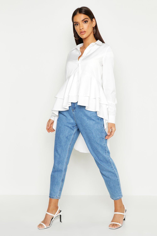 Womens Dip Back Ruffle Hem Shirt - white - 36, White - Boohoo.com
