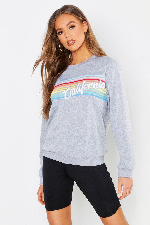Womens California Slogan Sweatshirt - grey marl - XS, Grey Marl - Boohoo.com