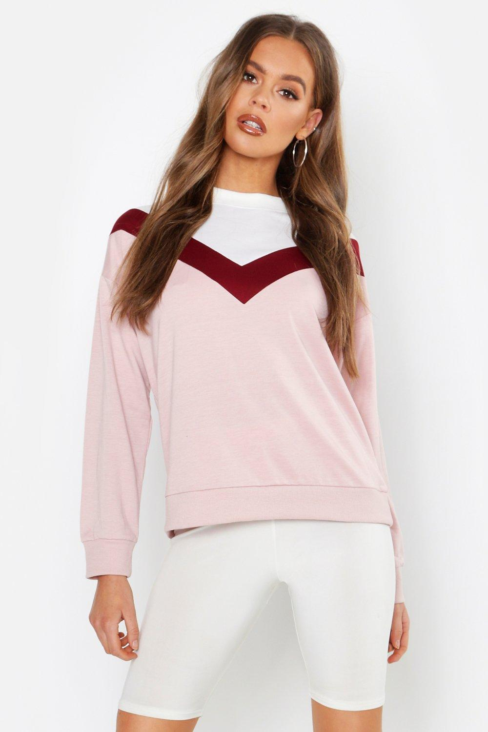 Womens Chevron Contrast Panel Sweatshirt - blush - XS, Blush - Boohoo.com