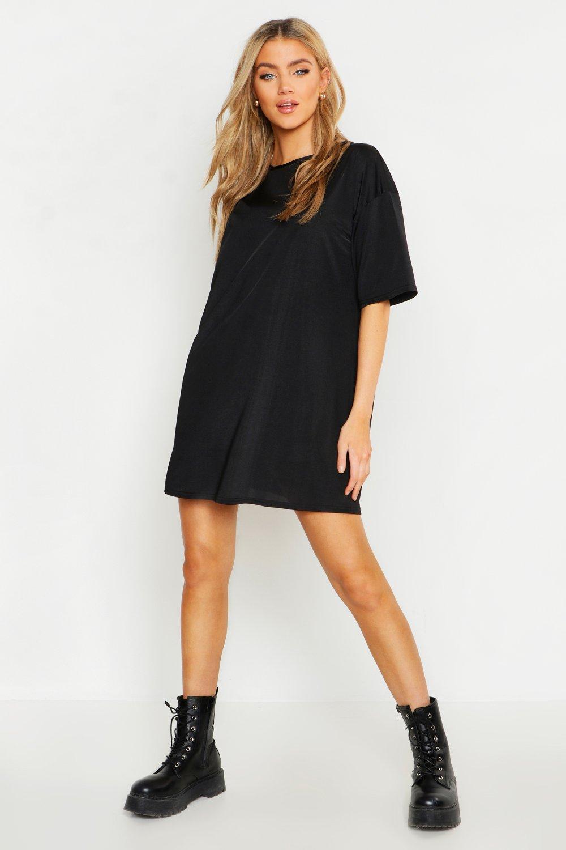 Womens Slinky Oversized T-Shirt Dress - black - 36, Black - Boohoo.com
