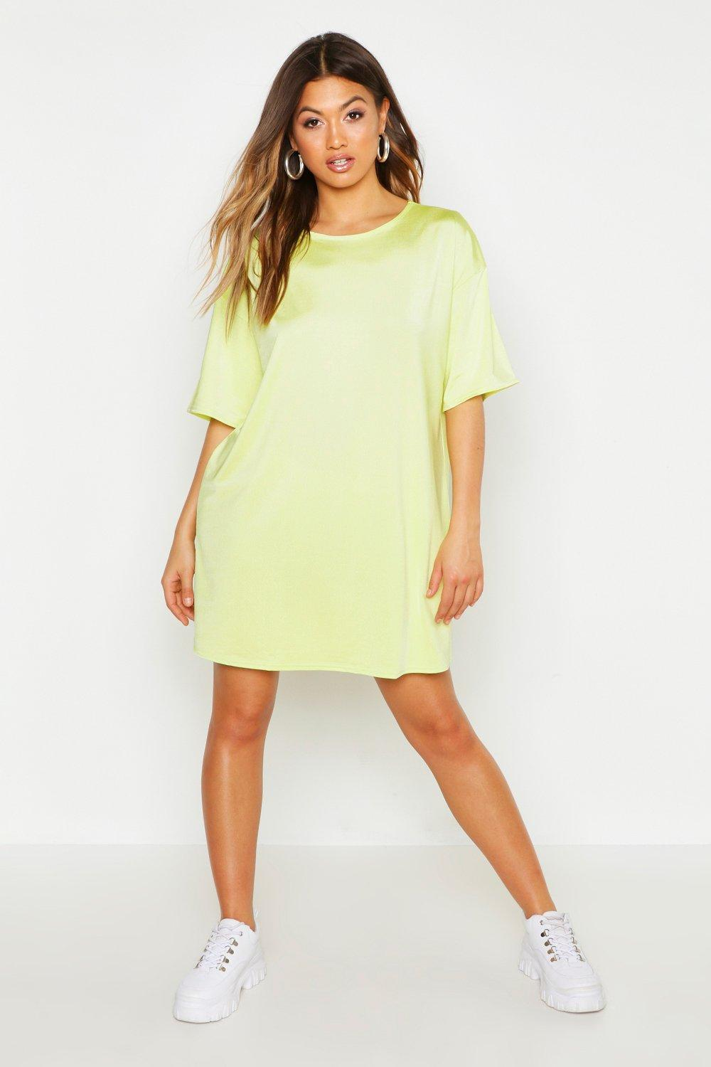 Womens Slinky Oversized T-Shirt Dress - lime - 34, Lime - Boohoo.com