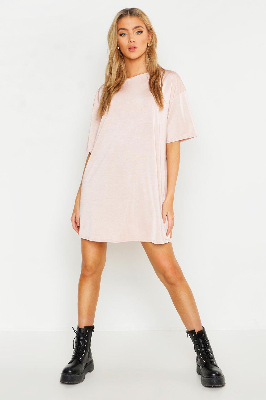 Womens Slinky Oversized T-Shirt Dress - nude - 36, Nude - Boohoo.com