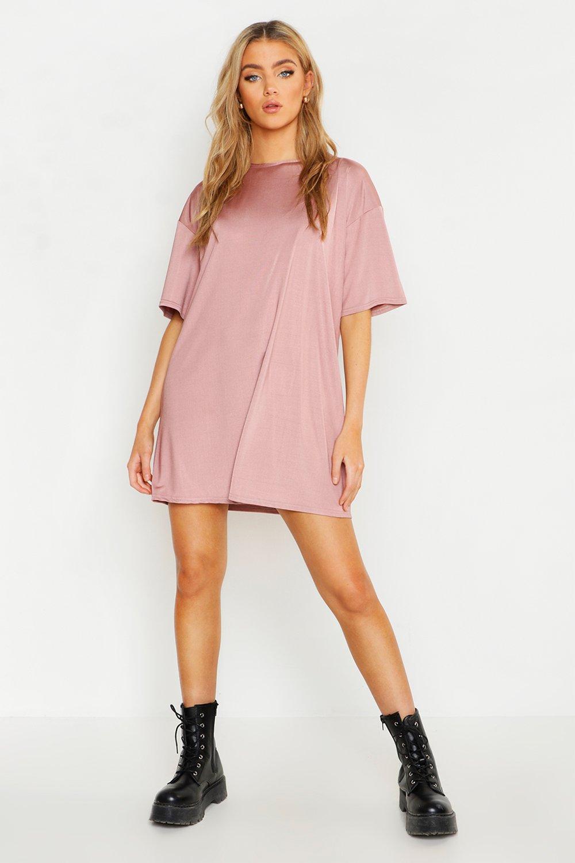 Womens Slinky Oversized T-Shirt Dress - rose - 36, Rose - Boohoo.com