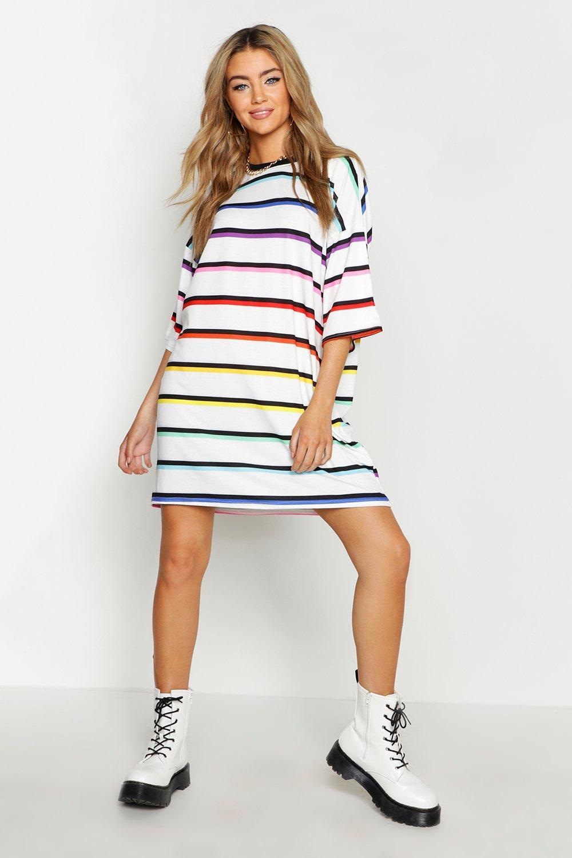 Купить Dresses, Stripe Rainbow T-Shirt Dress, boohoo