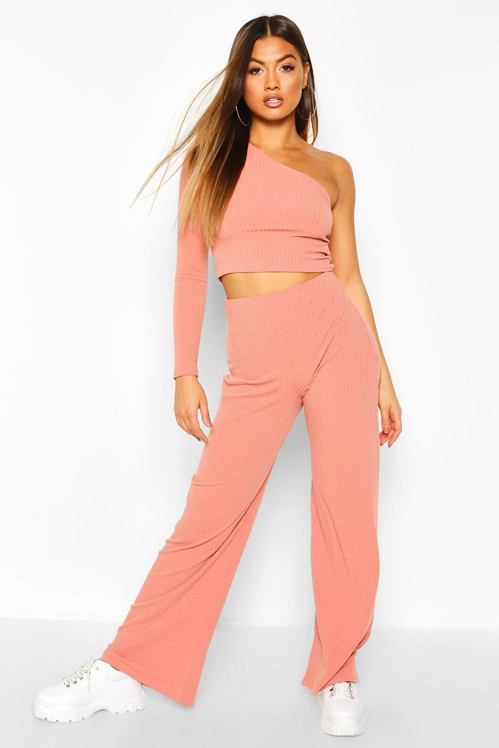 boohoo Womens One Shoulder Ribbed Top & Trouser Co-Ord - Pink - 12, Pink