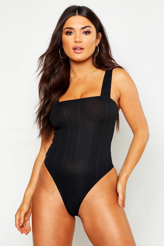 Womens Body mit breiten Trägern und Karree-Ausschnitt - schwarz - 32, Schwarz - Boohoo.com